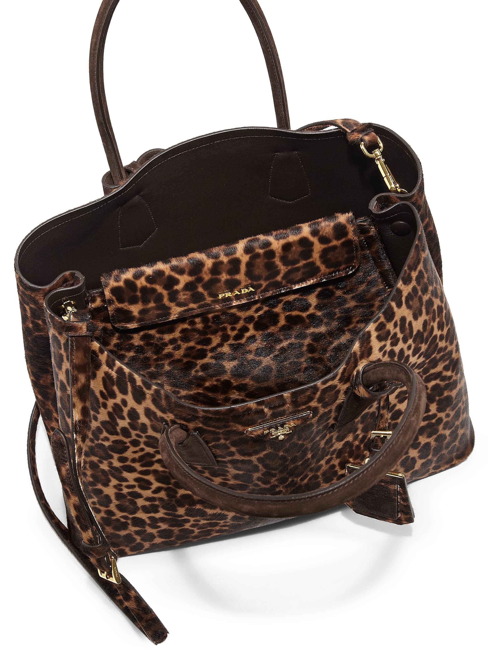 Prada Cavallino Calf Hair Double Bag in Animal (LEOPARD)  876f686a957bc