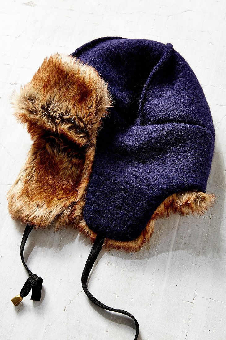 67468dad388d8 Urban Outfitters Boiled Wool Faux Fur Lined Trapper Hat in Blue - Lyst