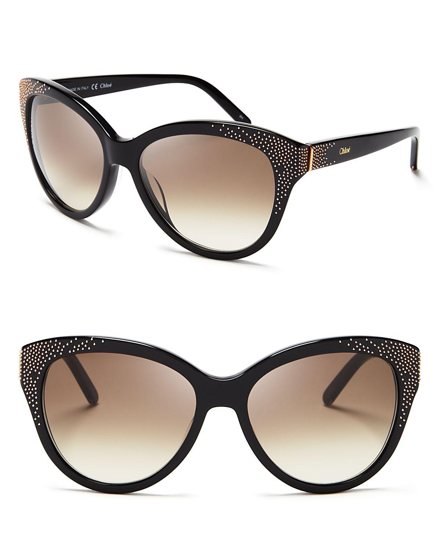 a3c3ed7bf0 Chloé Suzanna Studded Cat Eye Sunglasses in Black - Lyst
