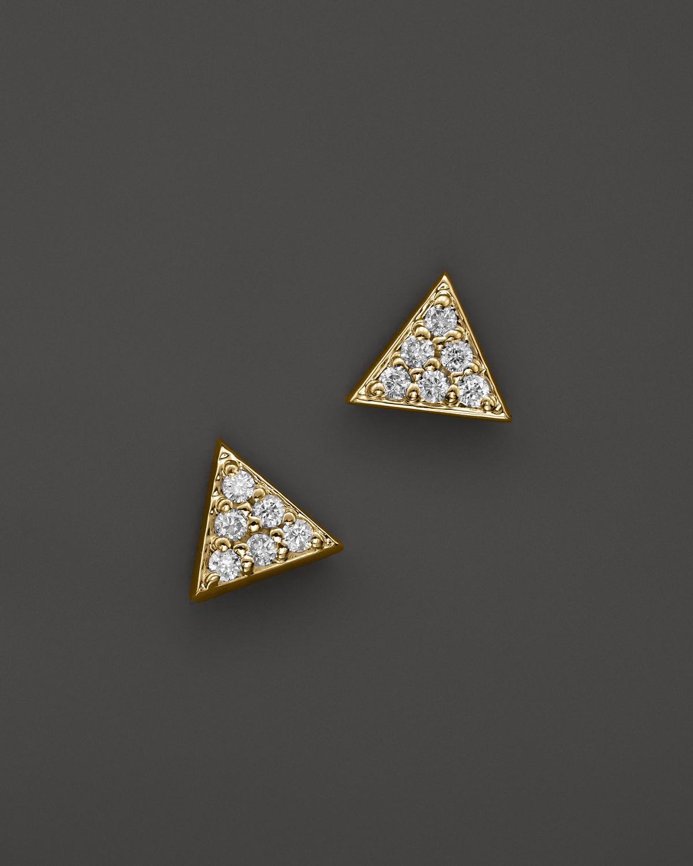 Kc Designs Diamond Triangle Stud Earrings In 14k Yellow