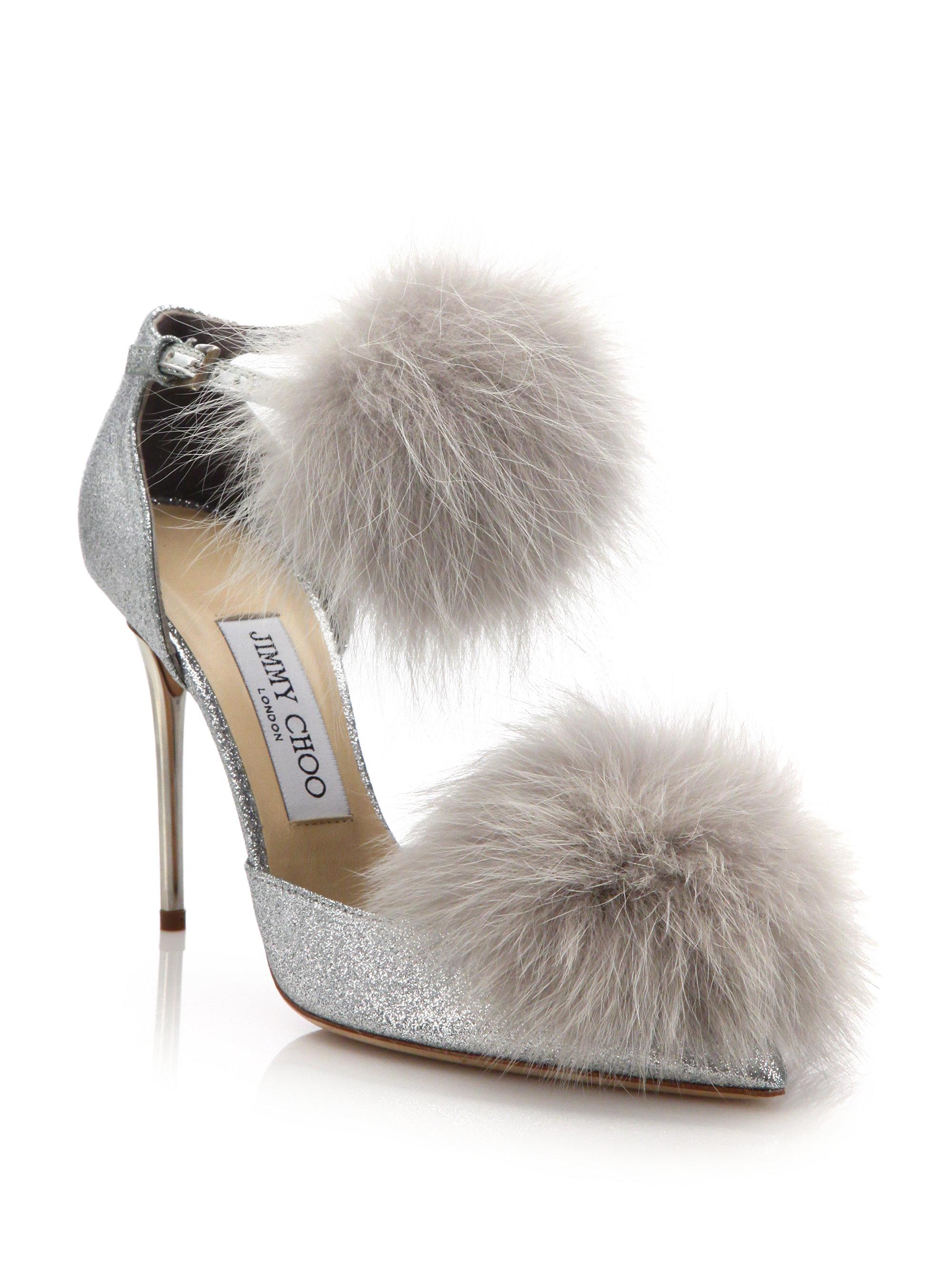 a2bc8062c4e Lyst - Jimmy Choo Dolly 100 Fox Fur   Glittered Textile Ankle-strap ...