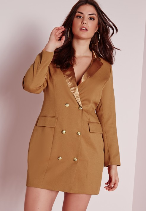 Lyst Missguided Plus Size Tux Satin Collar Shirt Dress Tan In Natural