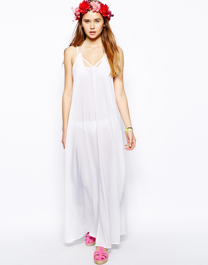asos trapeze maxi beach dress in white lyst. Black Bedroom Furniture Sets. Home Design Ideas