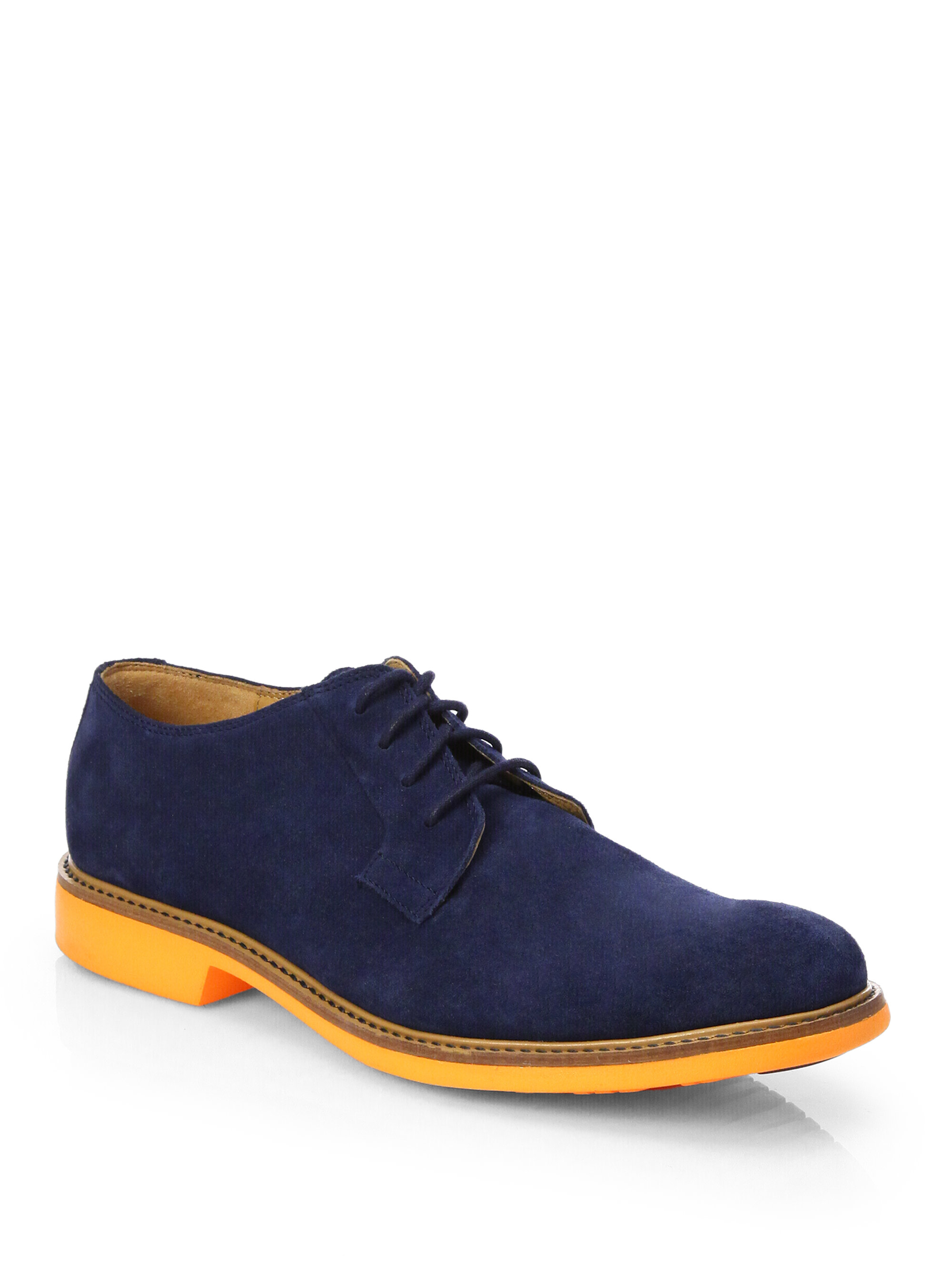 cole haan great jones plain suede derby shoes in blue for