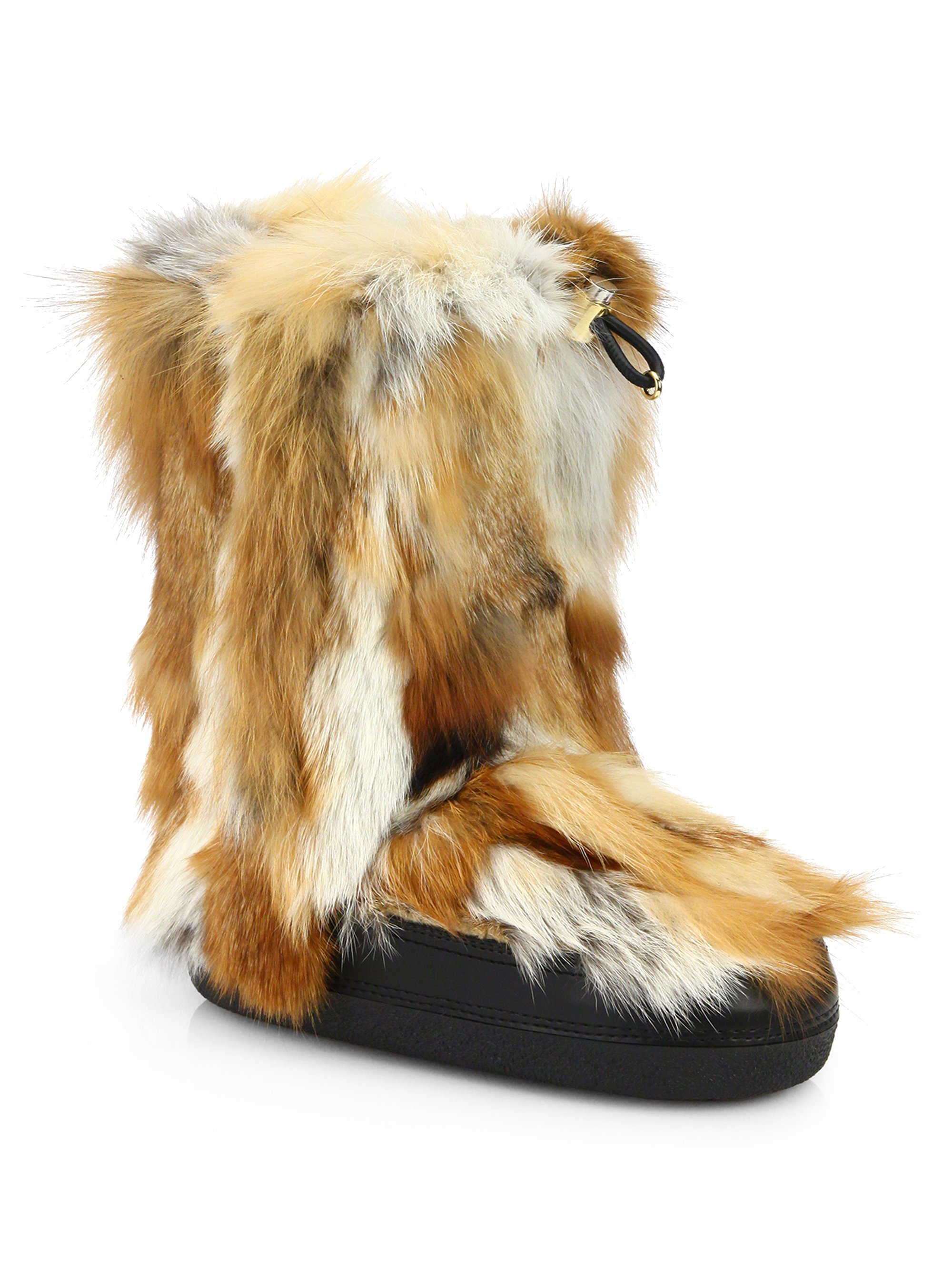 Lyst Chlo 233 Fox Fur Apres Ski Boots In Natural