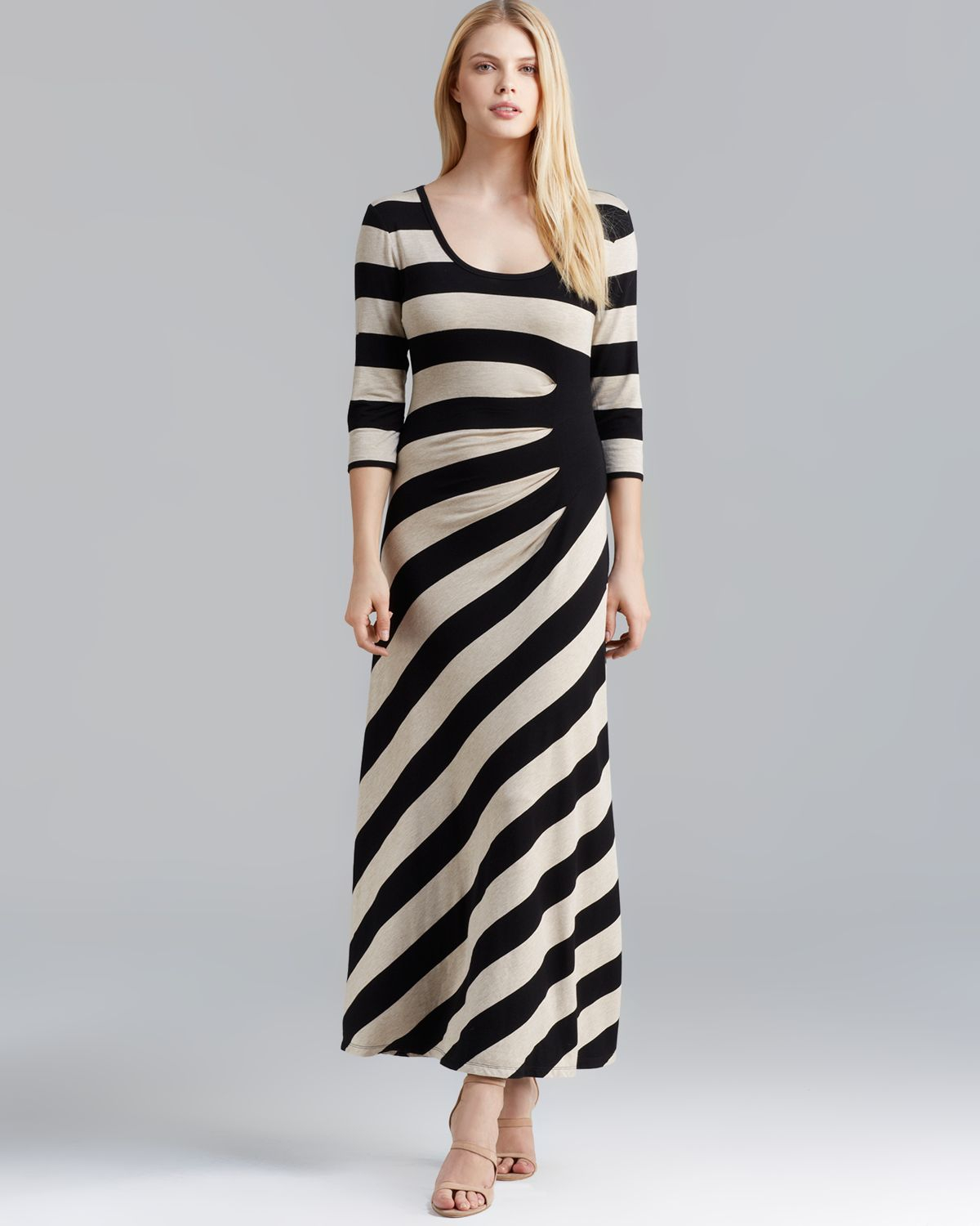 Calvin Klein Maxi Dress Striped Side Ruched In Black Camel