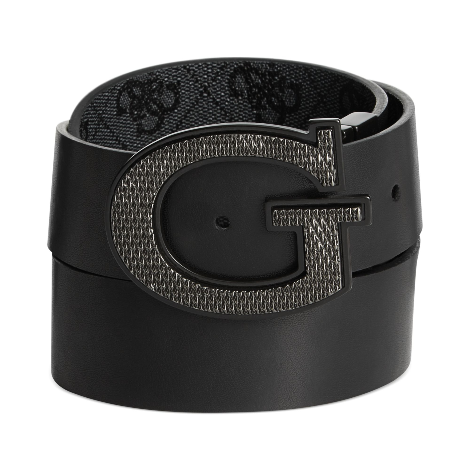 e970f52f850 Guess Black 35mm Reversible Leather Logo Buckle Belt for men