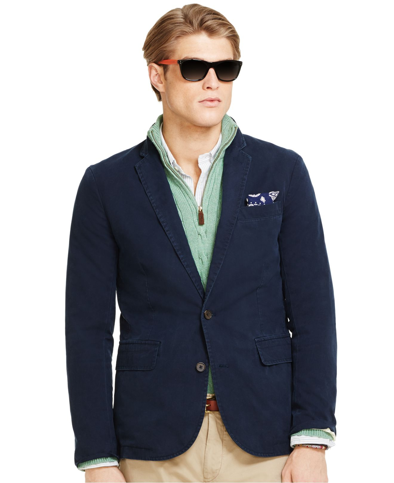 Polo ralph lauren chino sport coat in blue for men lyst for Polo shirt with sport coat