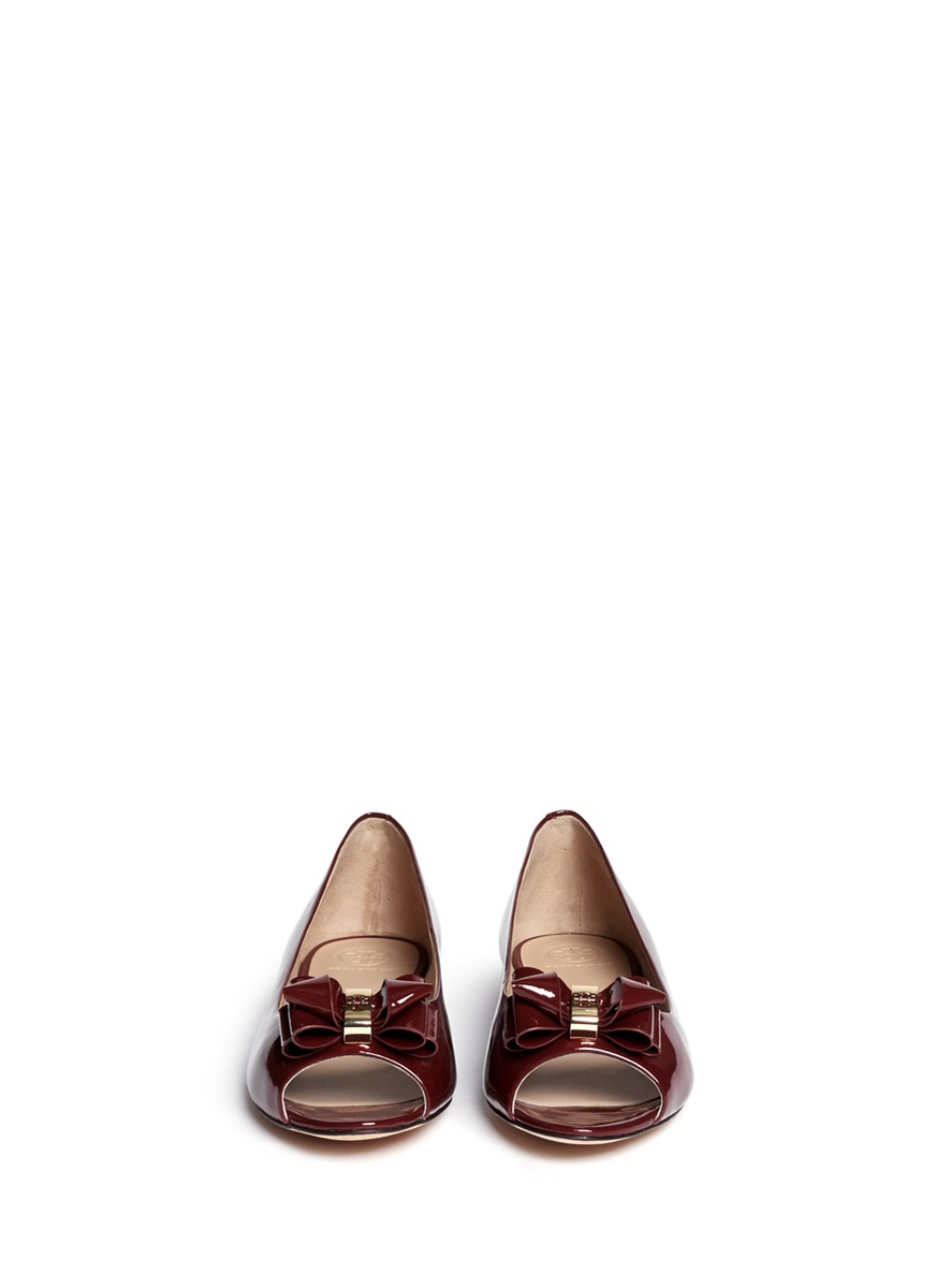 Tory Burch Bow Patent Leather Peep Toe