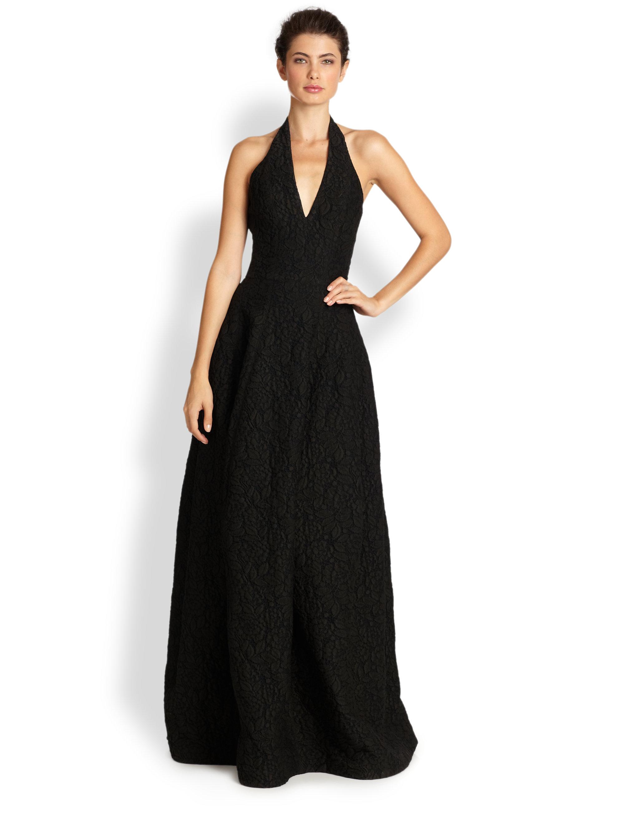 Halston Jacquard Halter Gown In Black Lyst
