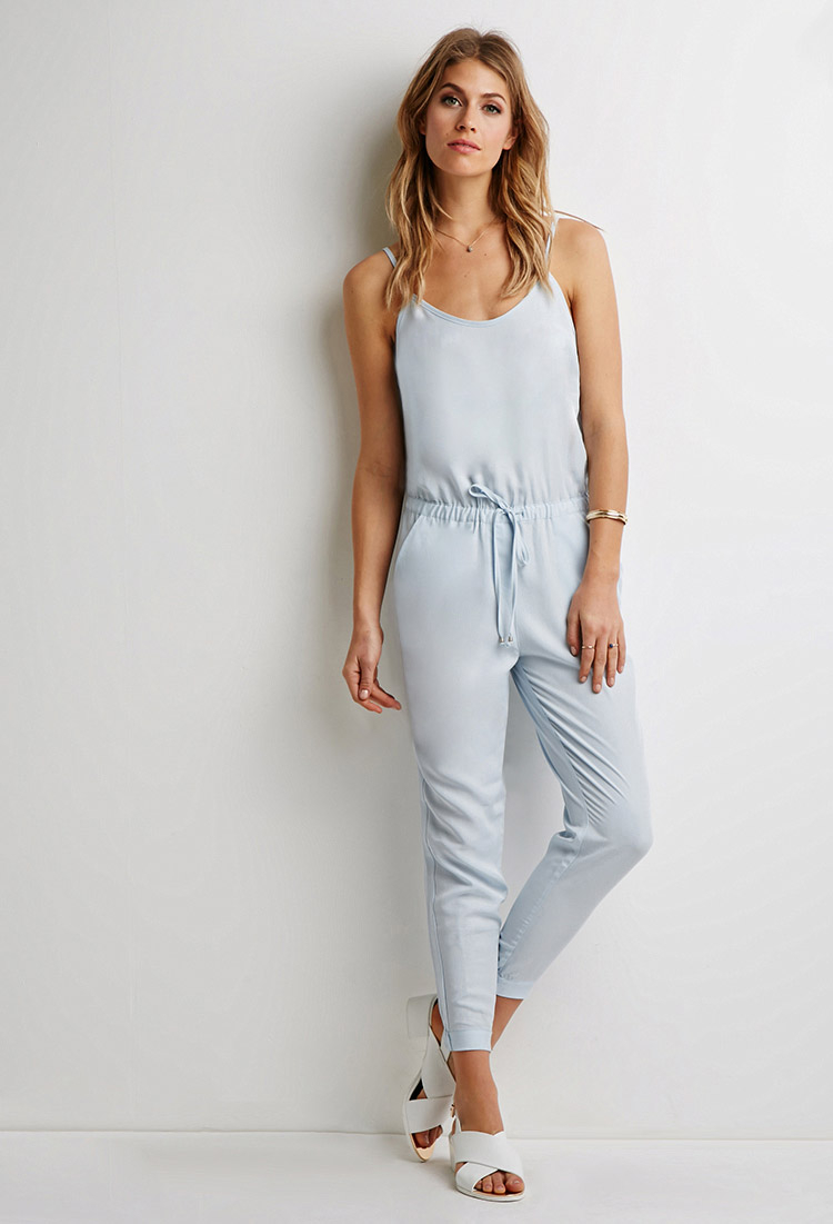 df56b793628 Lyst - Forever 21 Contemporary Drawstring Cami Jumpsuit in Blue