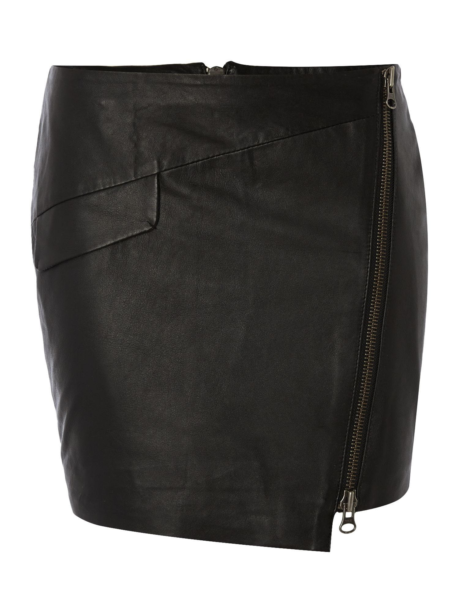 y a s zip front leather skirt in black lyst