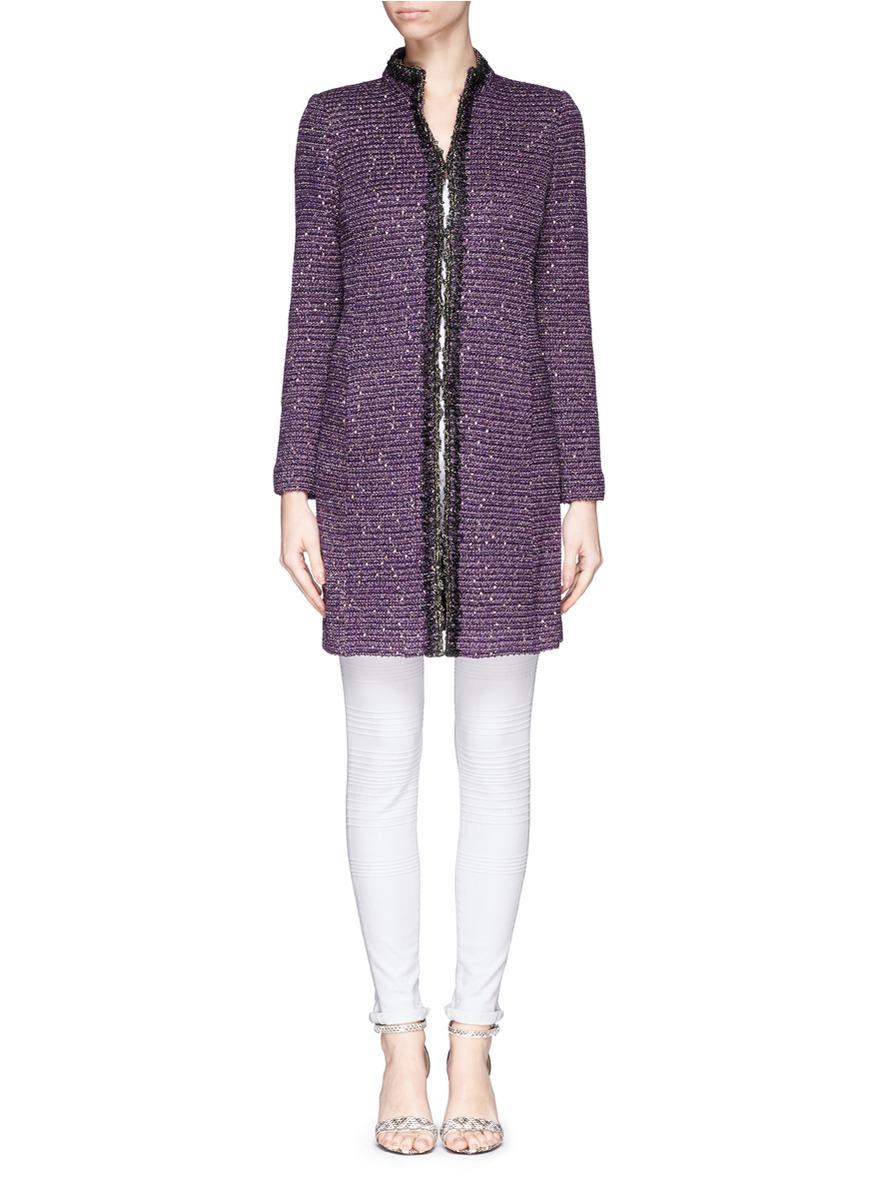 St. john Sequin Paillette Tweed Knit Duster Jacket in Purple | Lyst