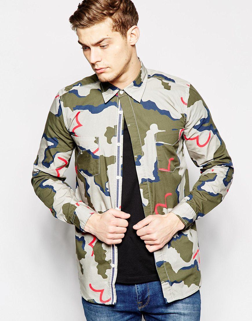 Evisu Shirt Button Down All Over Seagull Camo Print In