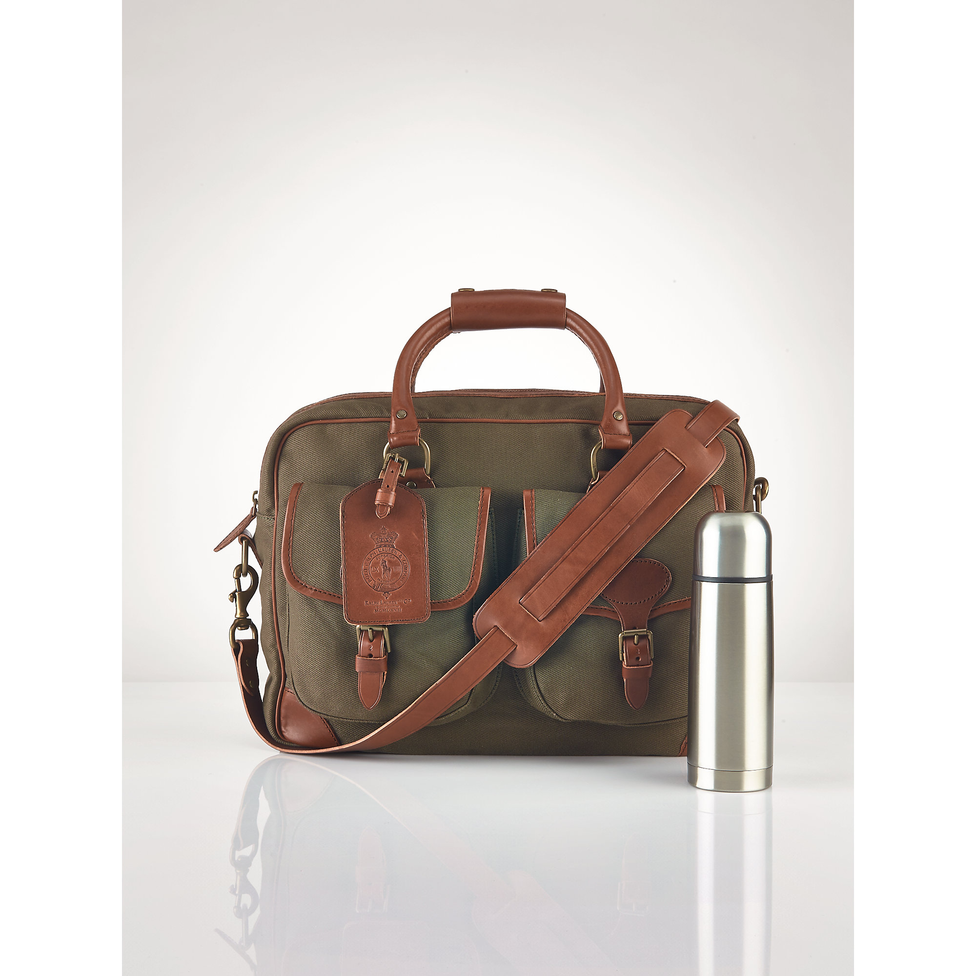 6c937a538b74 ... uk lyst polo ralph lauren canvas leather commuter bag in green for men  d2f99 e407d