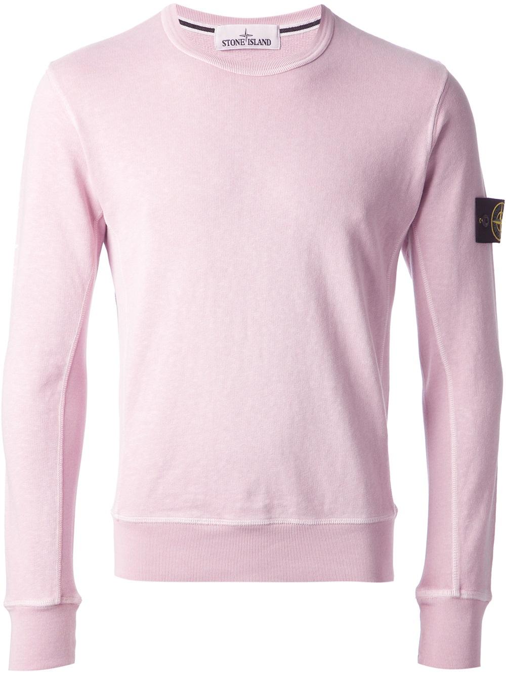 05dc432f Stone Island Logo Patch Sweatshirt in Pink for Men - Lyst