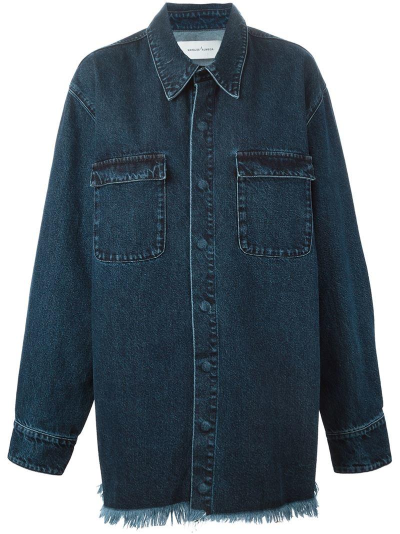 Lyst Marques Almeida Frayed Edge Denim Shirt Jacket In Blue