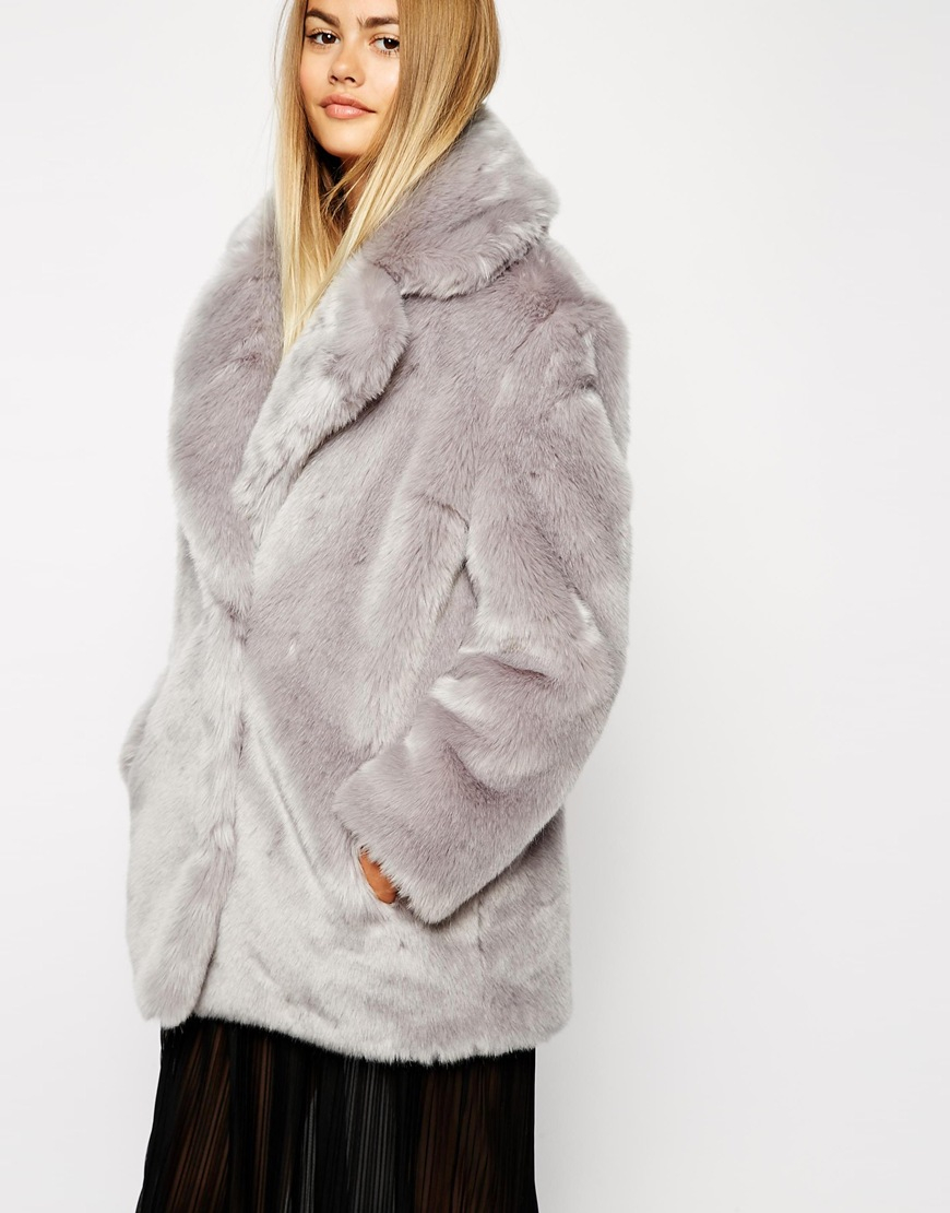 0f7c9a00012e7 Lyst - ASOS Faux Fur Coat With Oversized Collar in Metallic