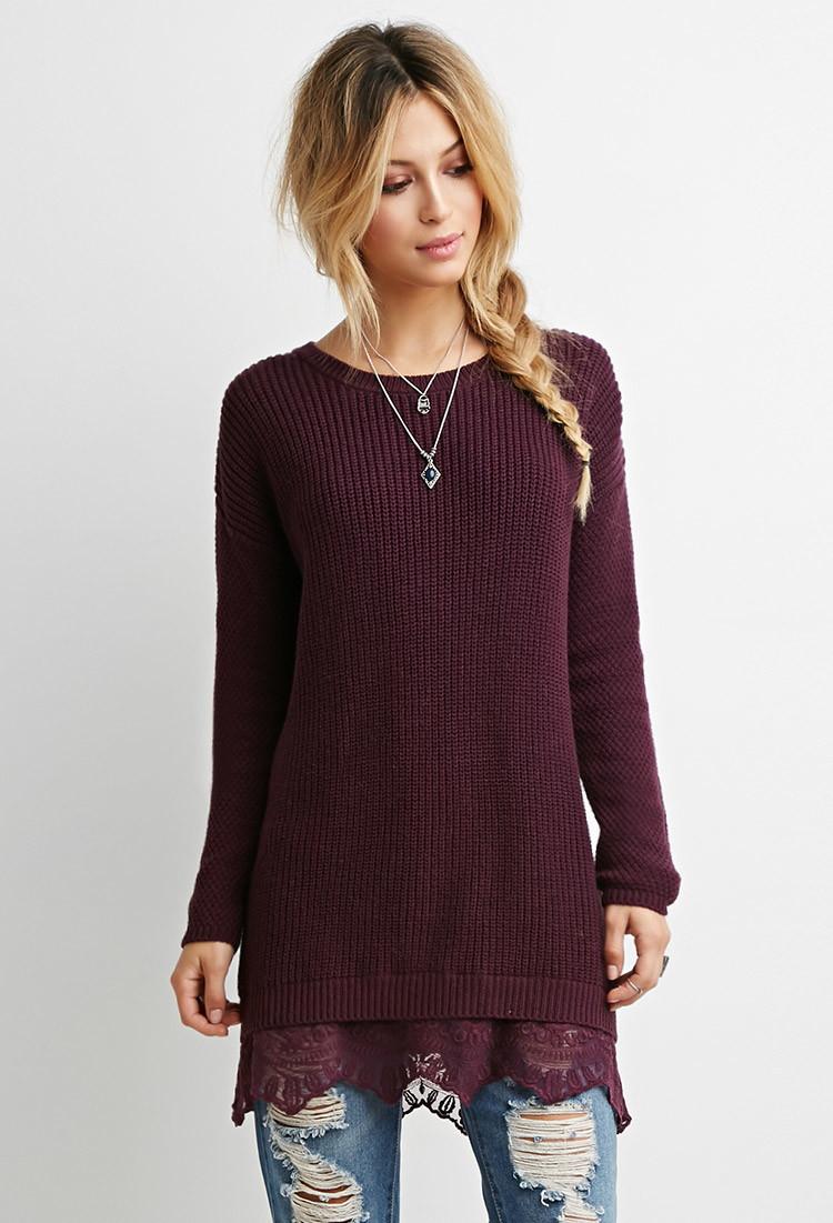 Forever 21 Lace-hem Longline Sweater in Purple | Lyst