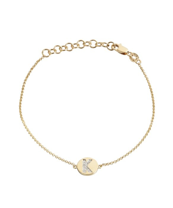 Lyst kc designs gold and diamond k initial pendant bracelet in gallery mozeypictures Image collections
