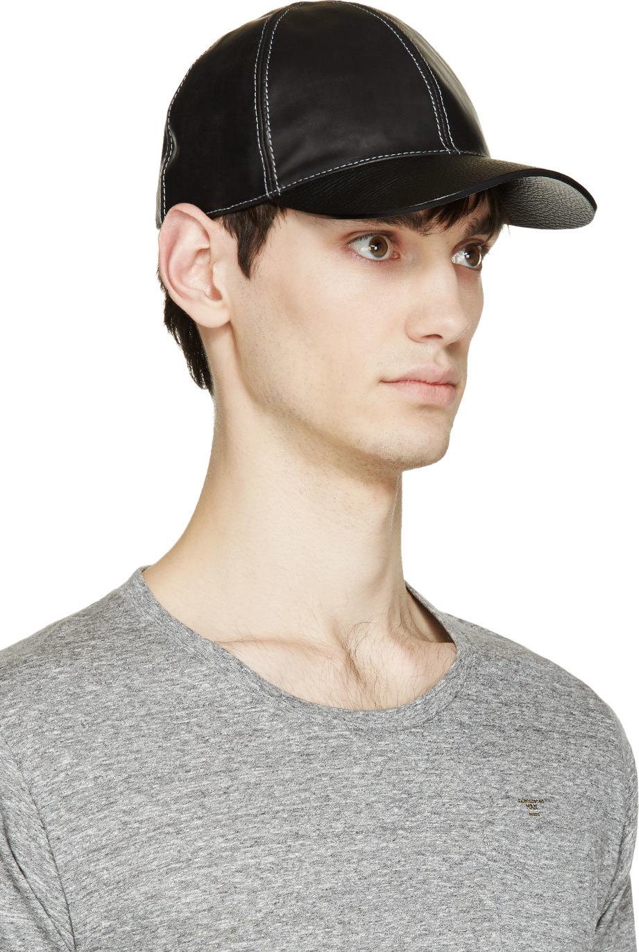 4535db4f370 Lyst - Marc Jacobs Black Leather Baseball Cap in Black for Men