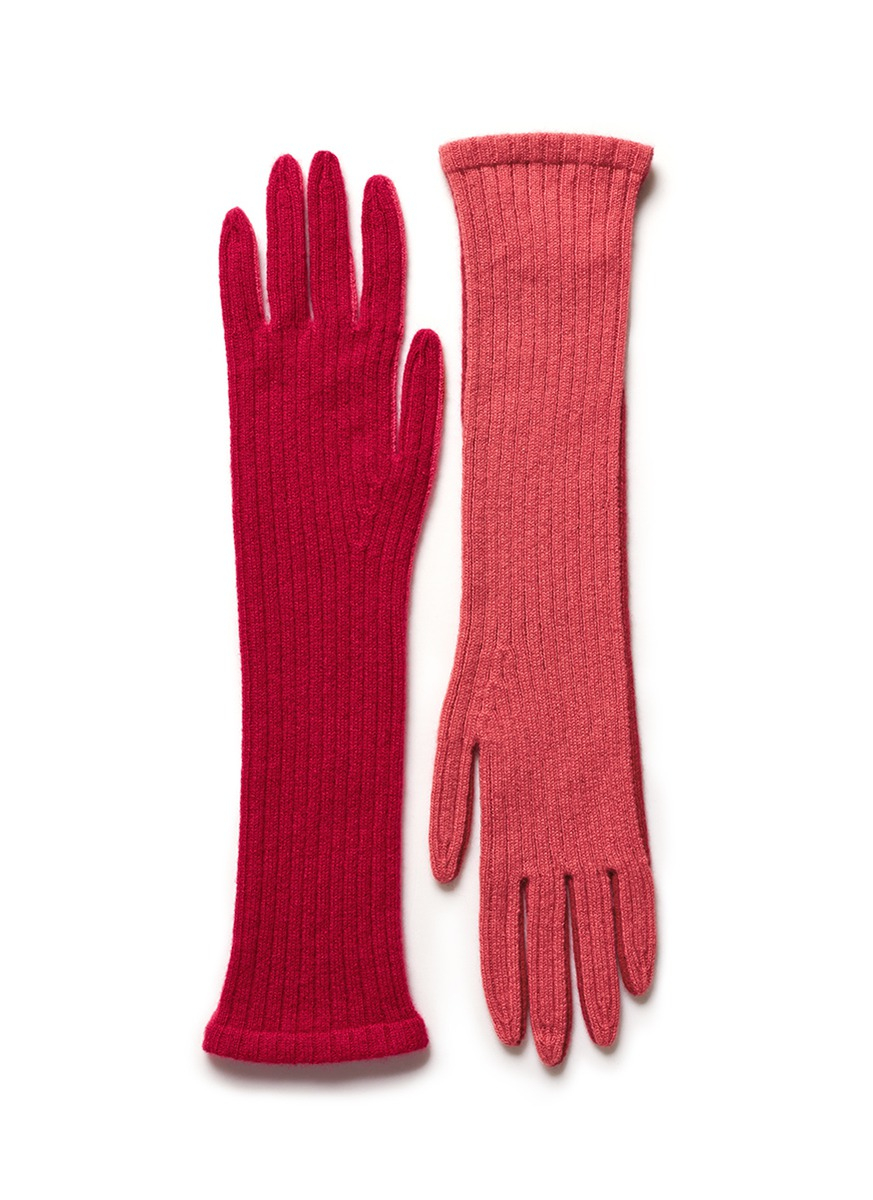 Knitting Pattern Cashmere Gloves : Armand diradourian Two Tone Knit Cashmere Gloves in Pink ...