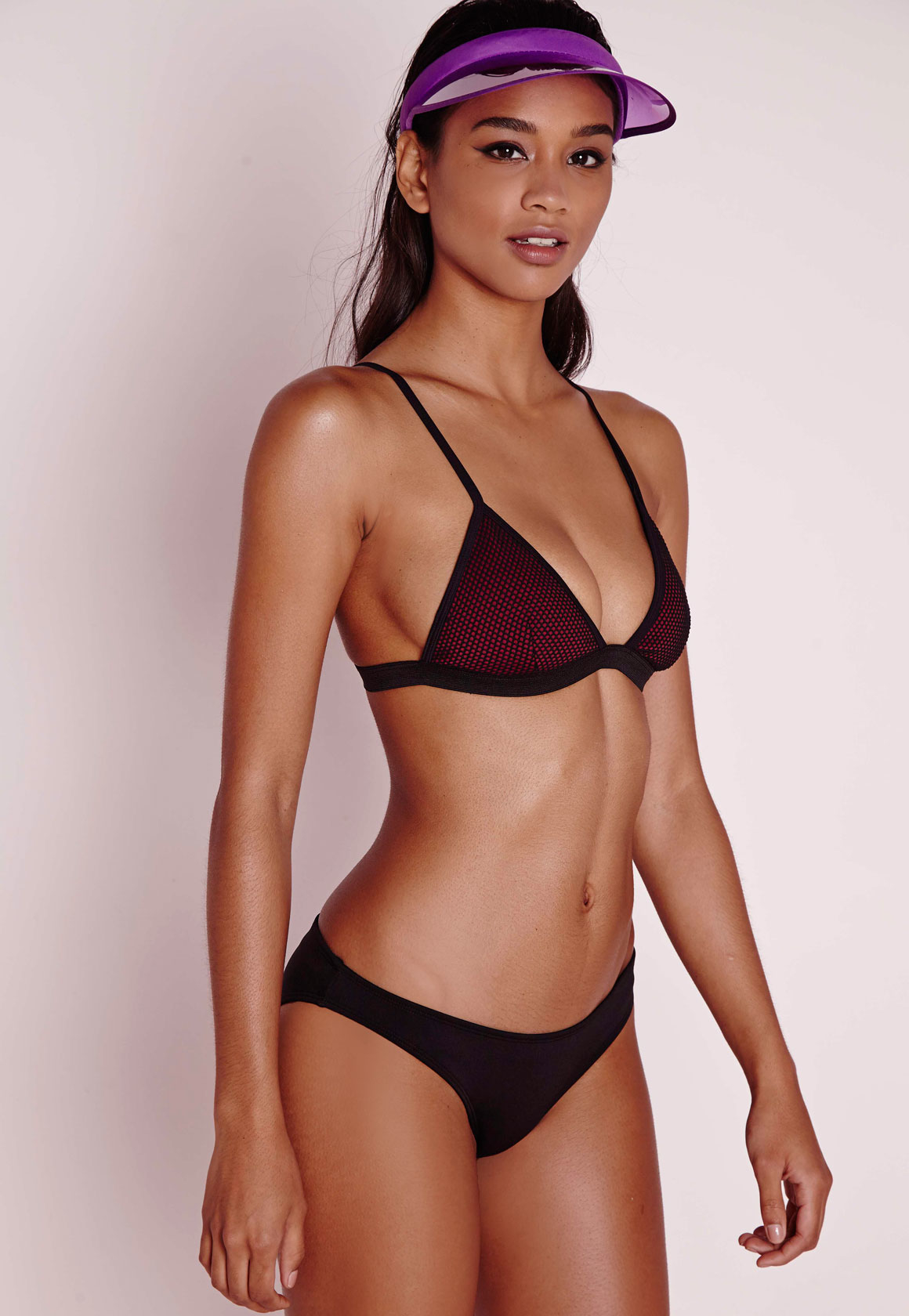 Missguided Mesh Triangle Bikini Set Burgundy in Black