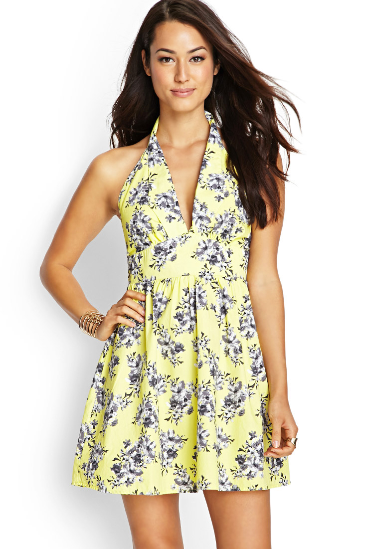 Forever 21 Contemporary Floral Halter Dress in Yellow | Lyst