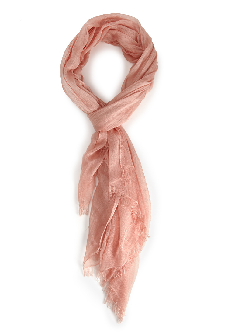 forever 21 frayed gauze scarf in pink lyst