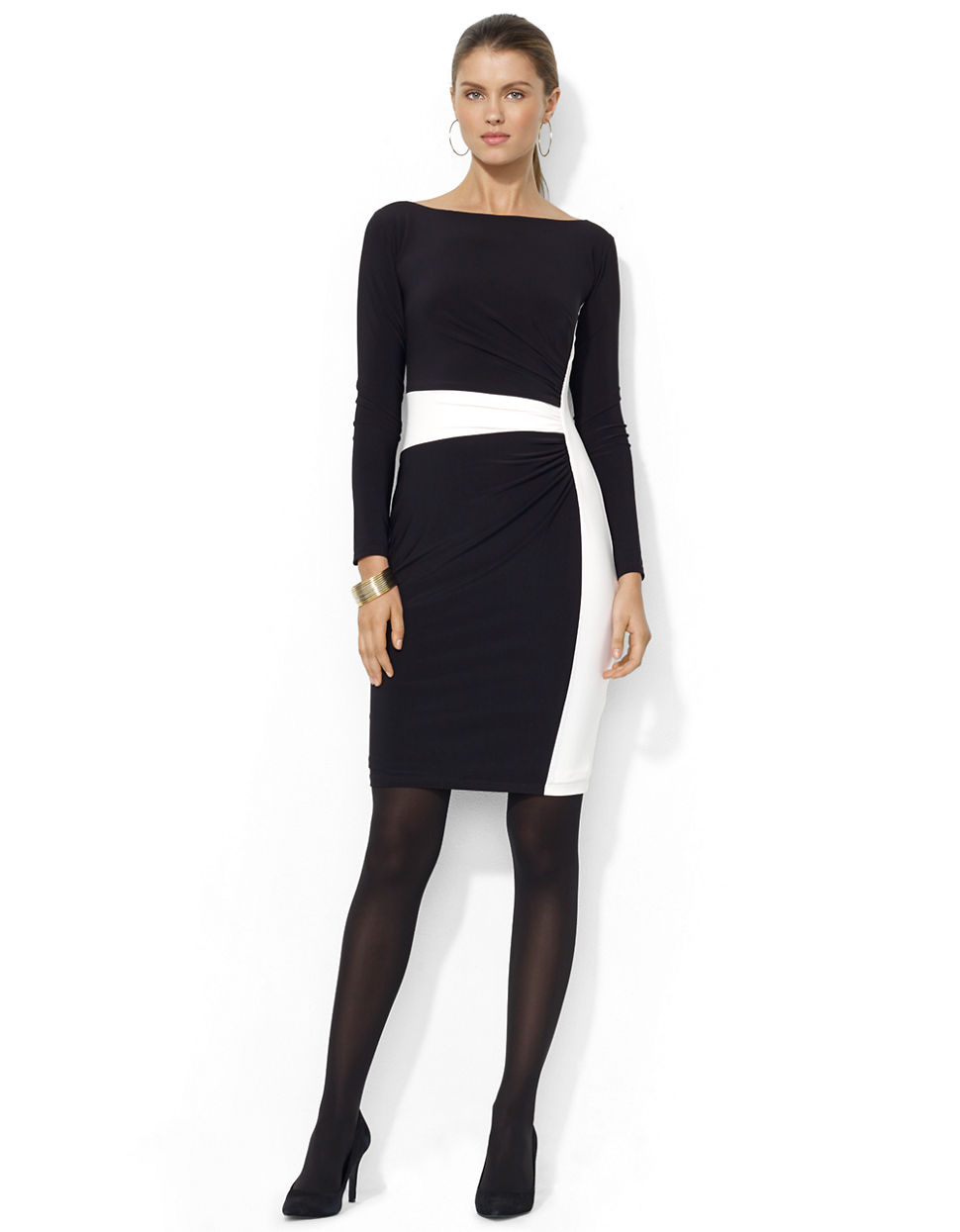 Boat Neck Black Dress