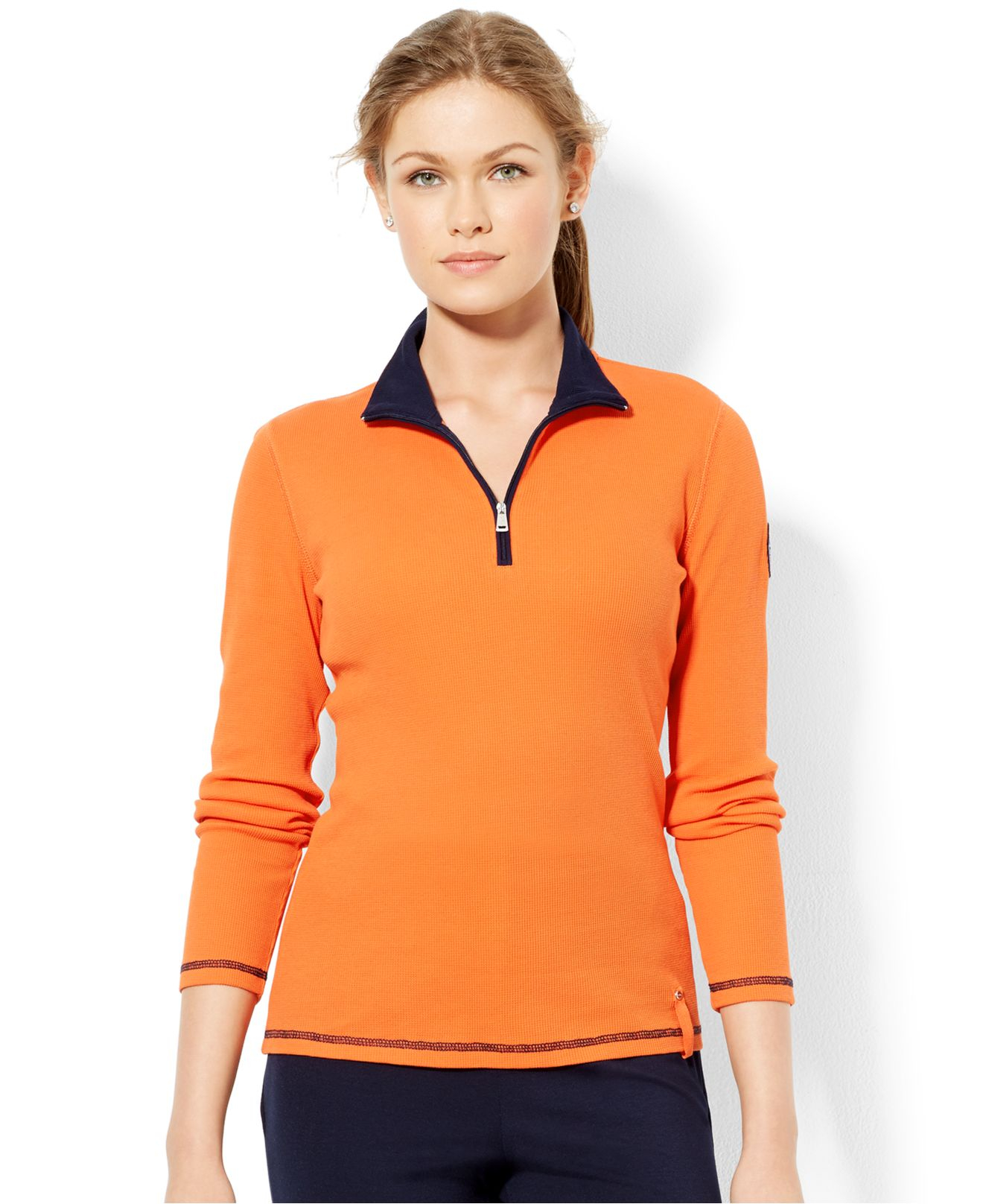Lauren by ralph lauren Mock-Turtleneck Half-Zip Pullover in Orange ...