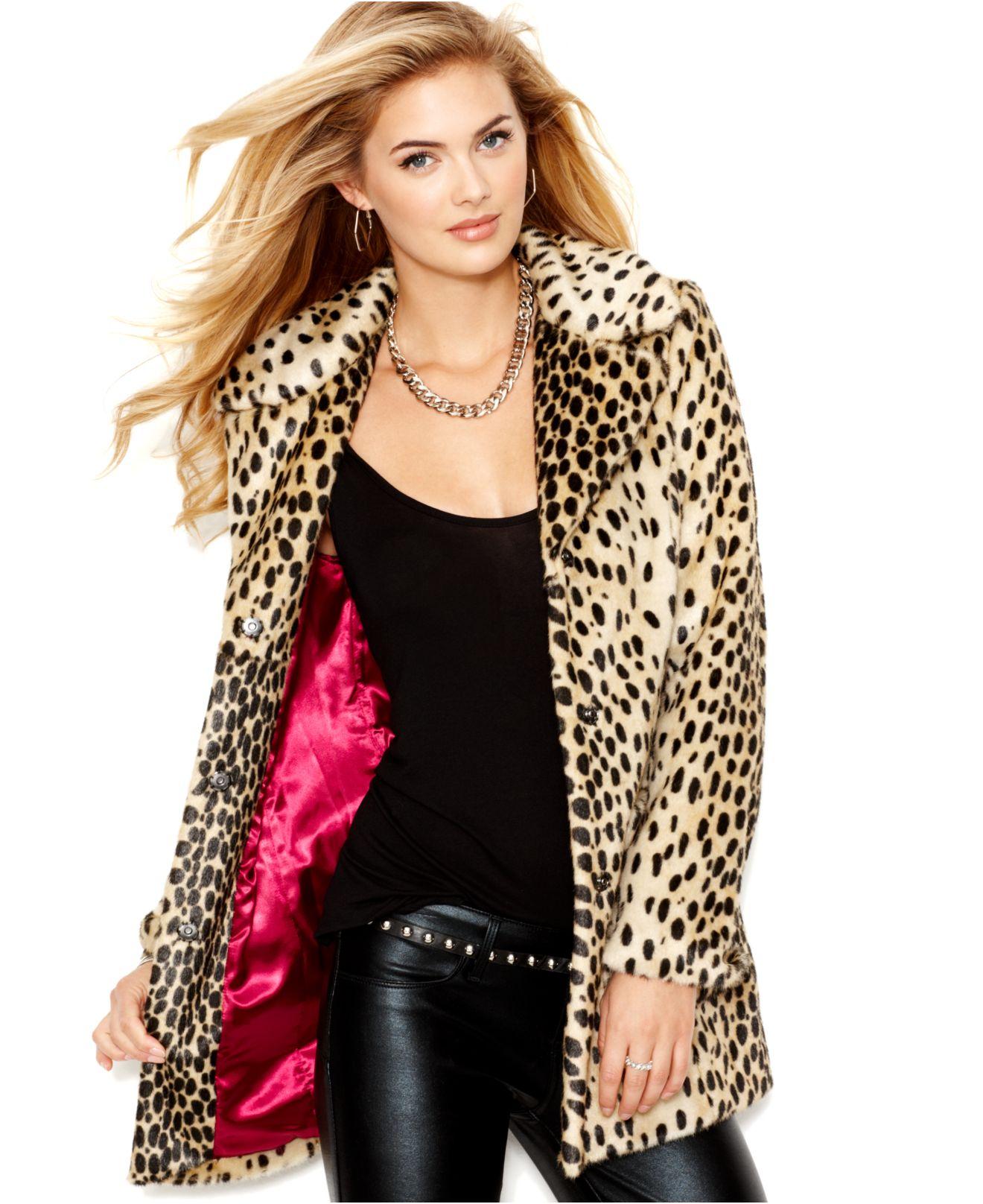 Guess Jacket - Faux Fur Leopard