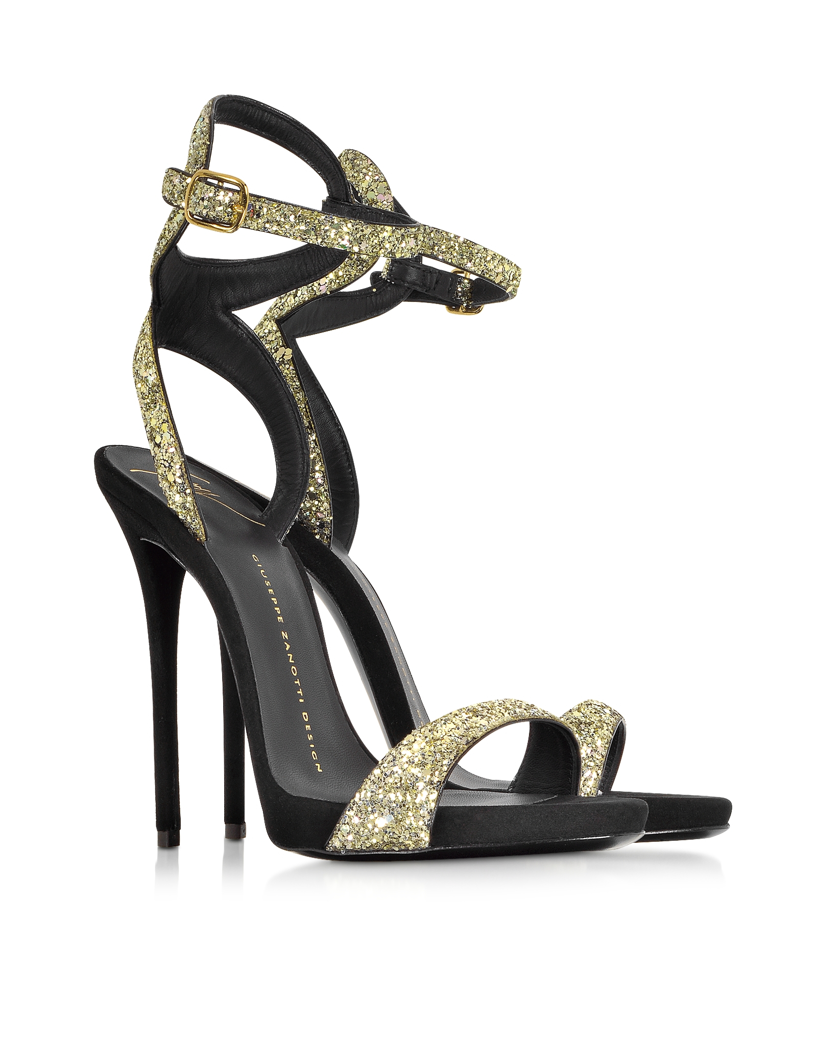 Giuseppe Zanotti Gold Glitter Ankle Strap Sandal In