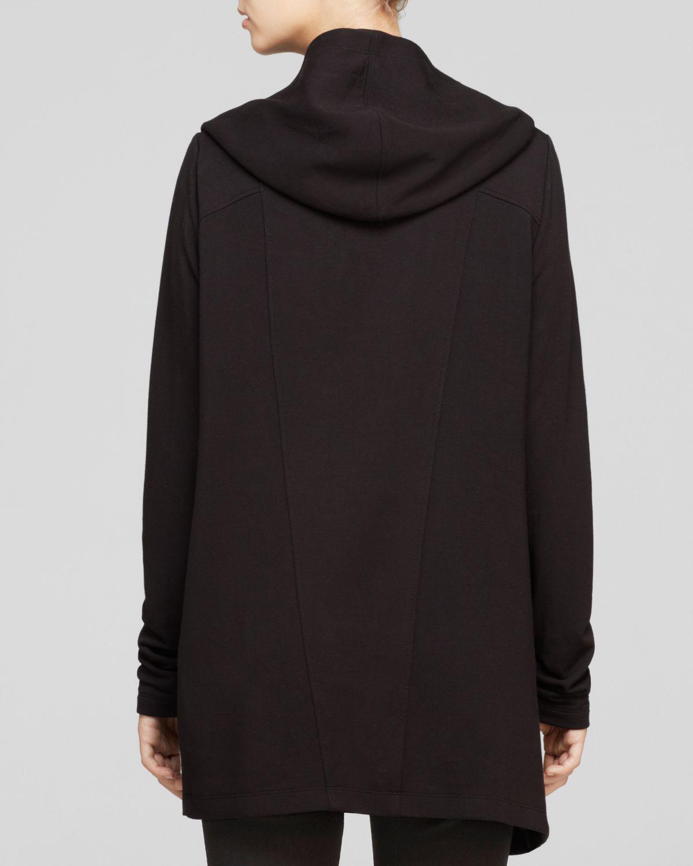 Helmut lang cardigan villous hooded sweatshirt in black - Sweatshirt kleid lang ...