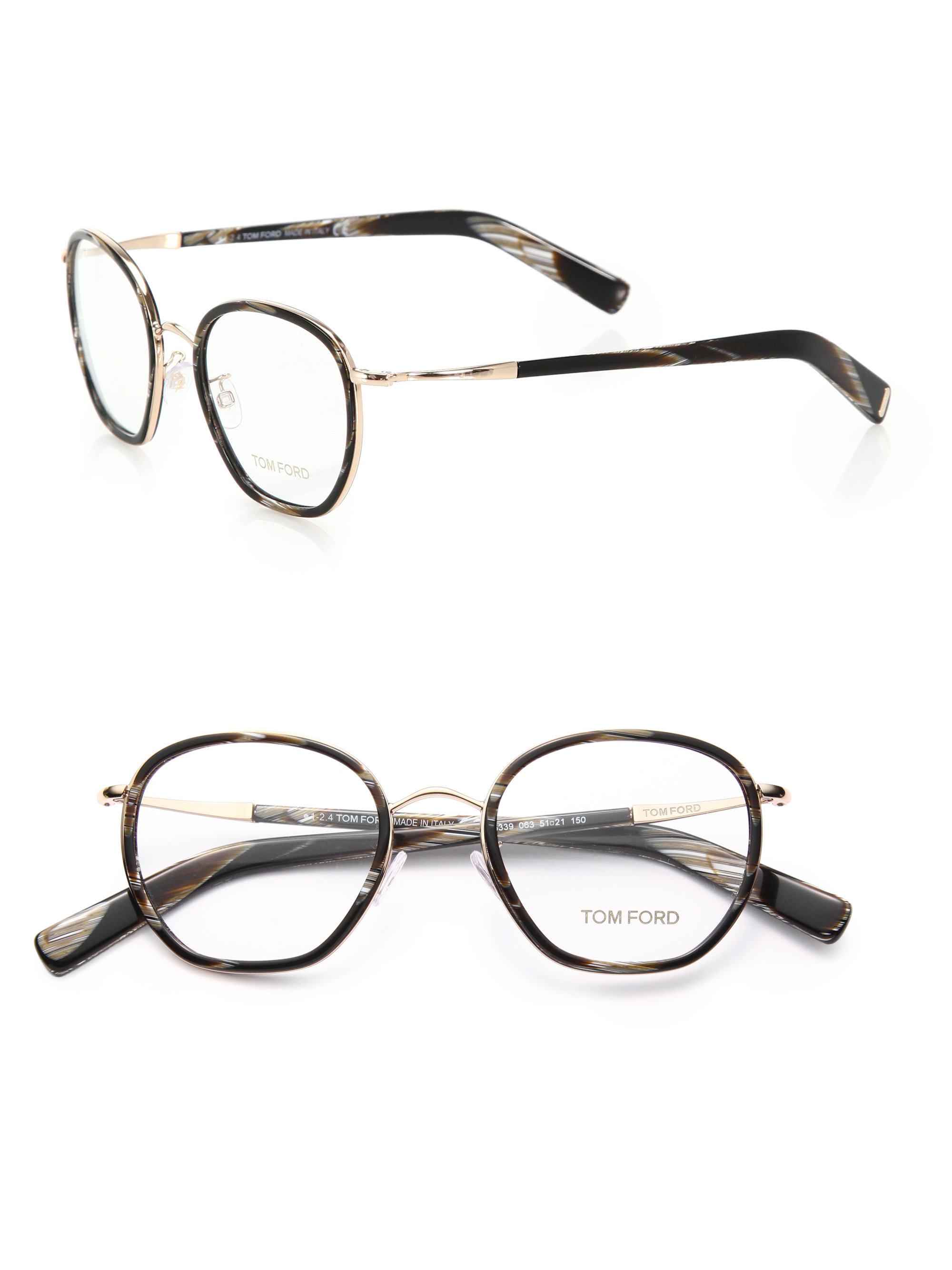 d954c5d3a9cdc Tom Ford 51mm Round Acetate   Metal Optical Glasses in Black - Lyst