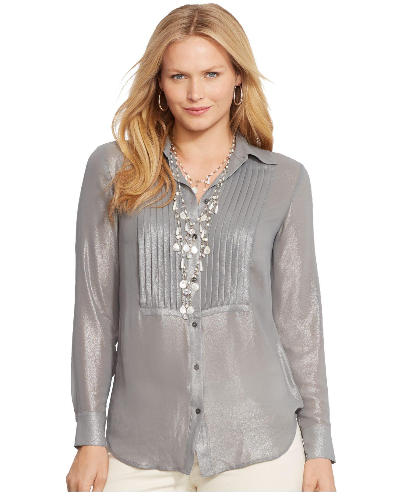 Lauren by ralph lauren plus size metallic pintucked shirt for Silver metallic shirt women s