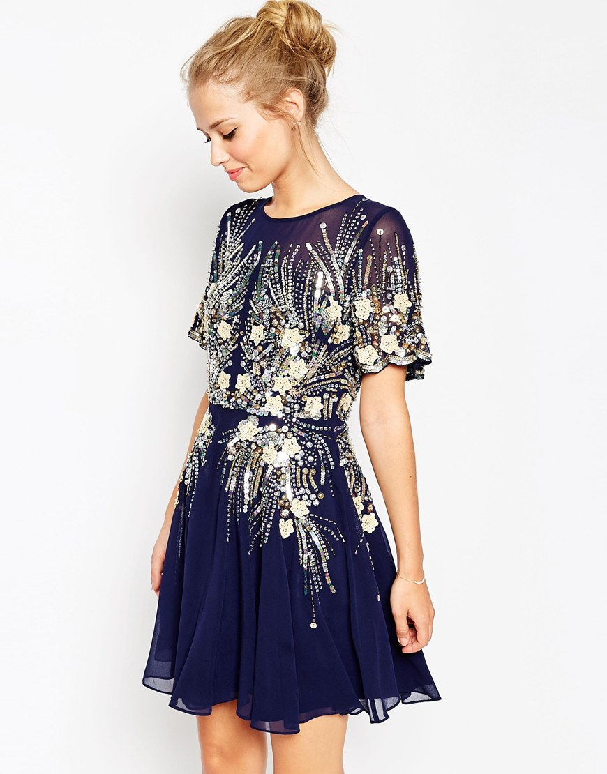 Asos Gold And Navy Sparkle Mesh Skater Dress in Blue | Lyst