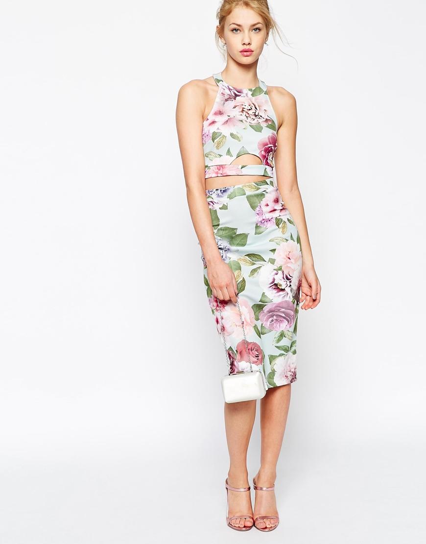 Asos Vintage Rose Two Piece Bodycon Dress | Lyst