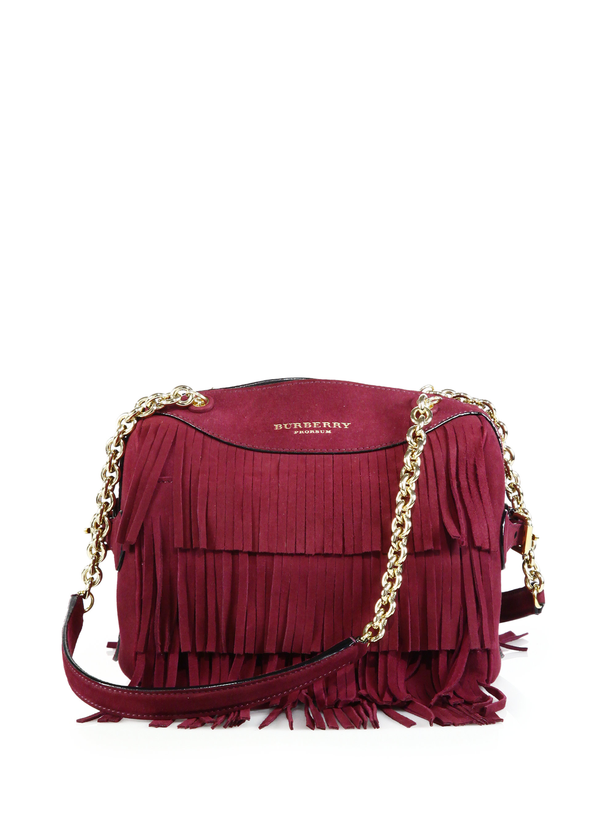 Burberry Mini Bee Fringed Suede Shoulder Bag in Red | Lyst