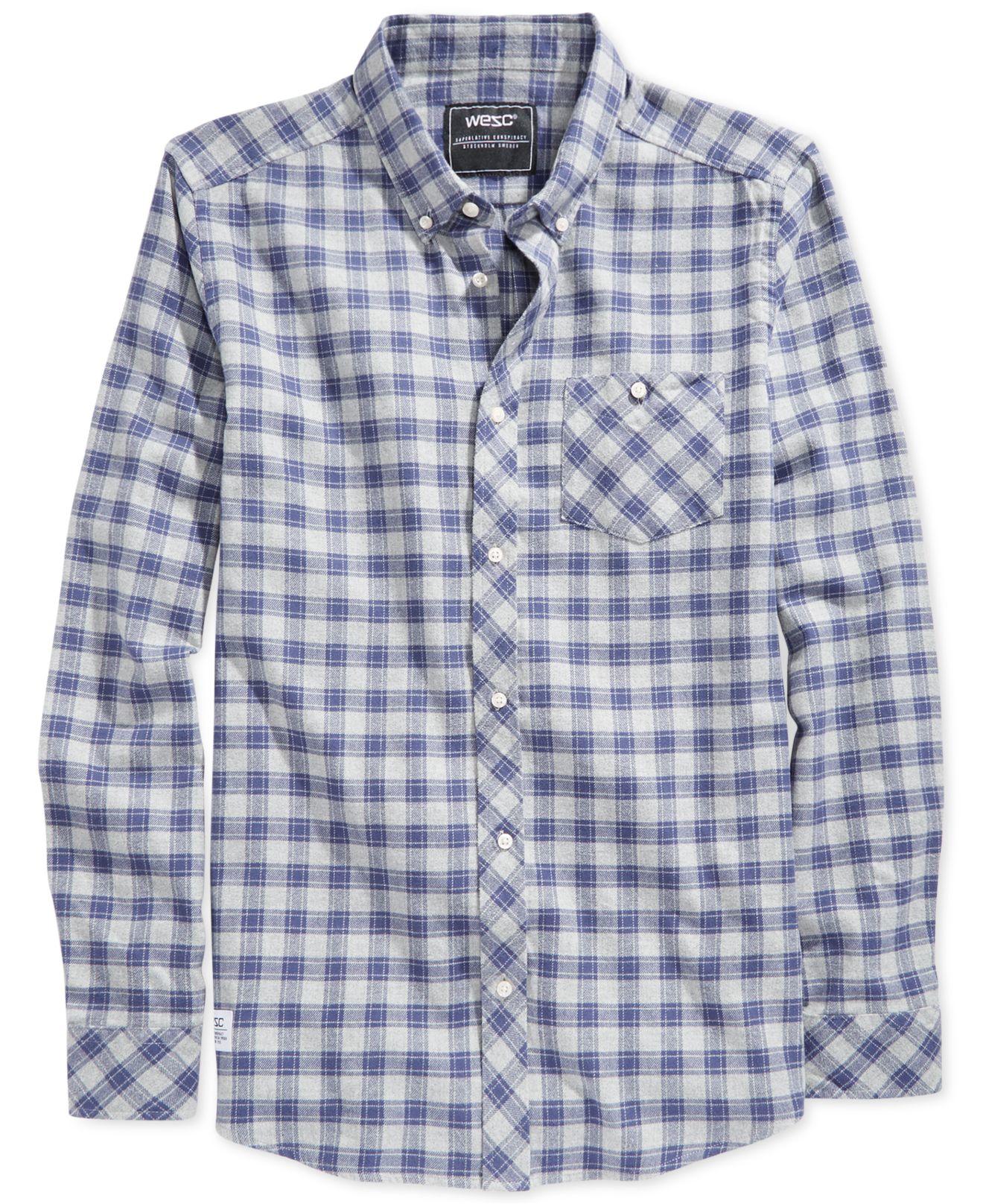 9fb9b3b50b6 Lyst - Wesc Pita Plaid Flannel Shirt in Blue for Men