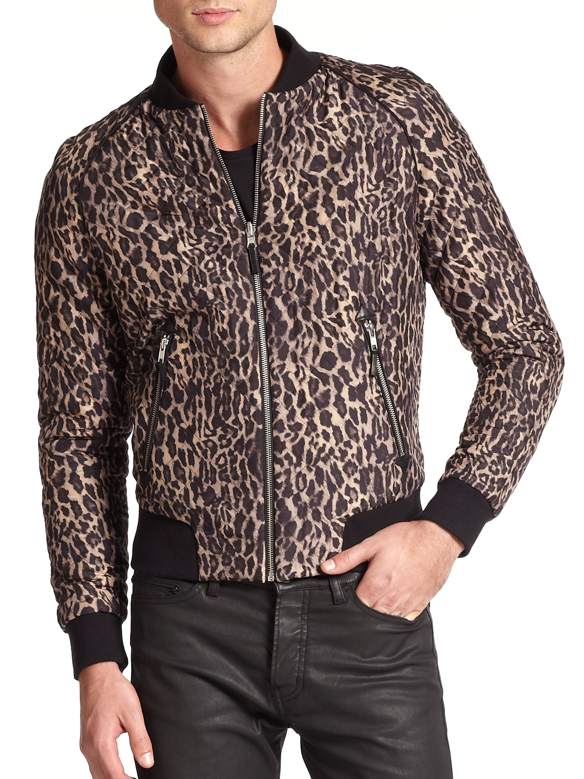 The kooples Quilted Leopard-Print Silk Bomber Jacket in Brown for ...