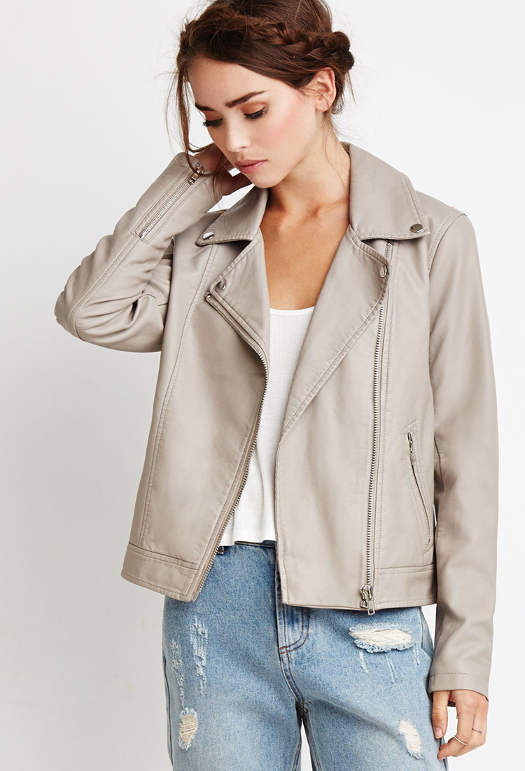 e9eba200d Forever 21 Faux Leather Moto Jacket in Natural - Lyst