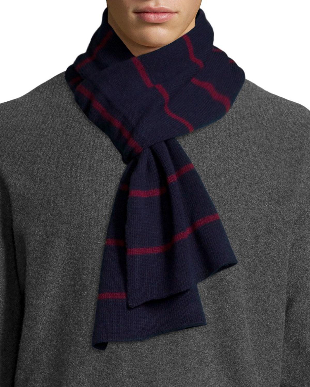 portolano striped scarf in blue lyst