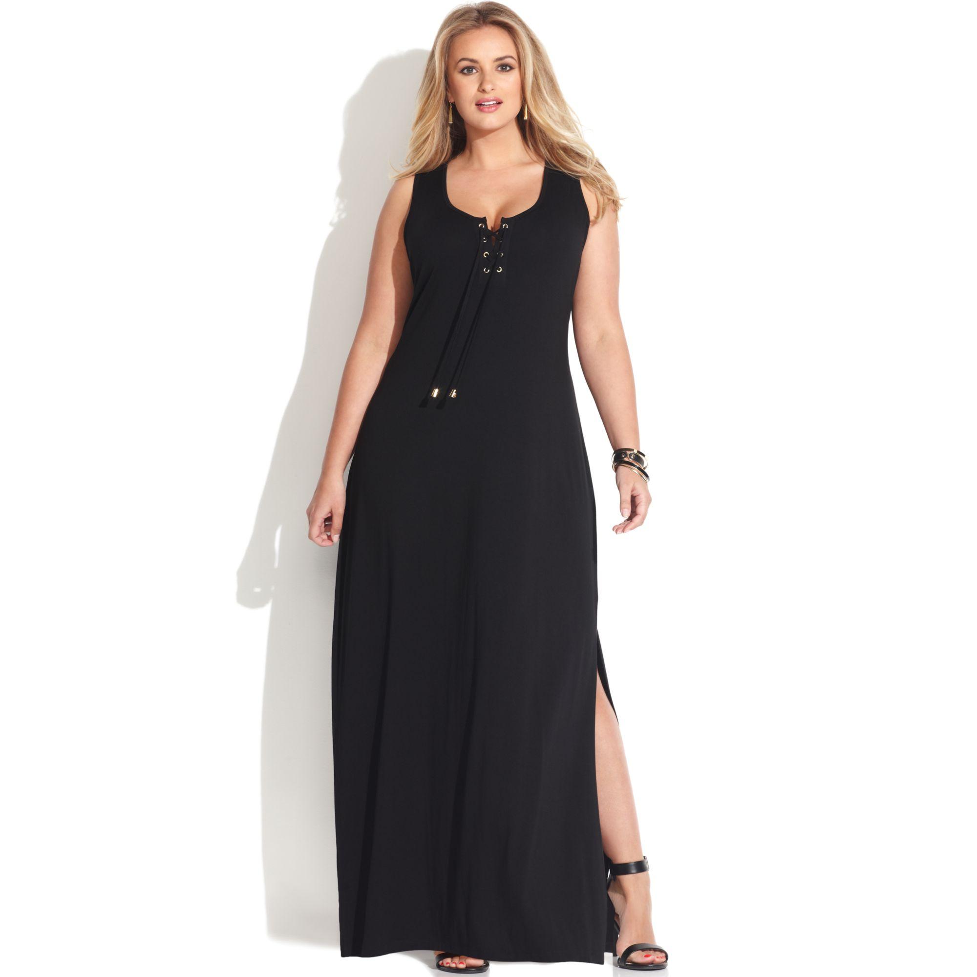 Plus Size Sleeveless Lace Up Maxi Dress