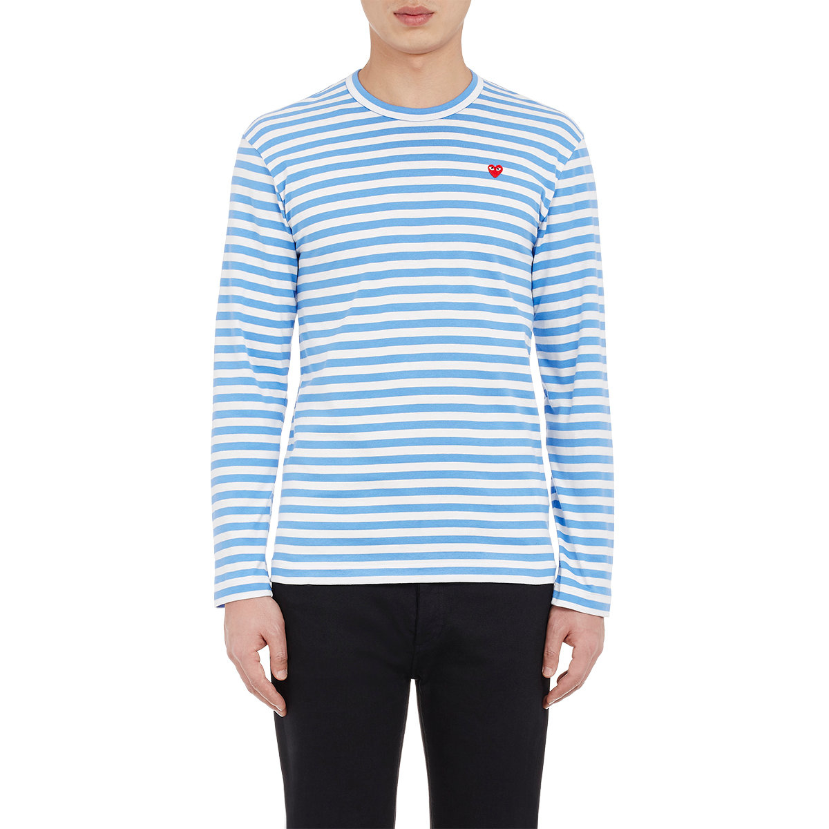 play comme des gar ons striped long sleeve t shirt in blue. Black Bedroom Furniture Sets. Home Design Ideas