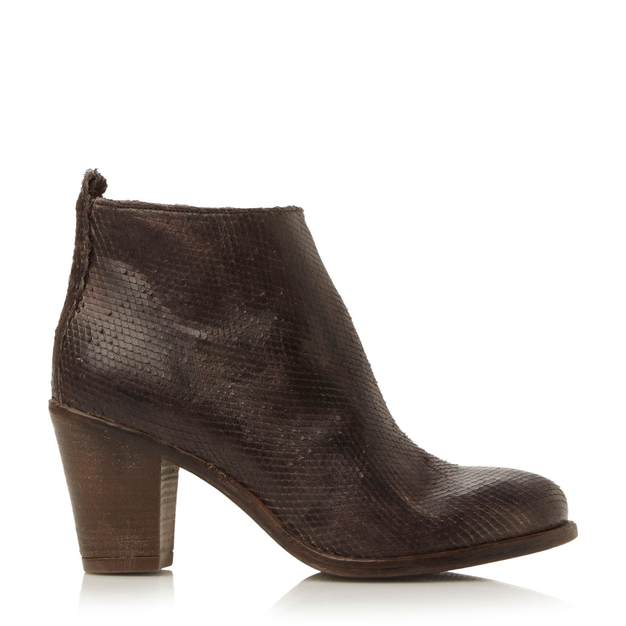 dune black phillie block heel leather ankle boots in brown