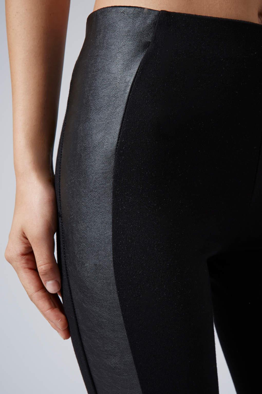 Topshop Leather Look Panel Ponte Leggings in Black | Lyst