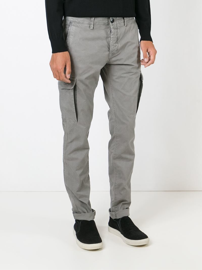 Stone Island Slim Fit Cargo Trousers In Grey Gray For