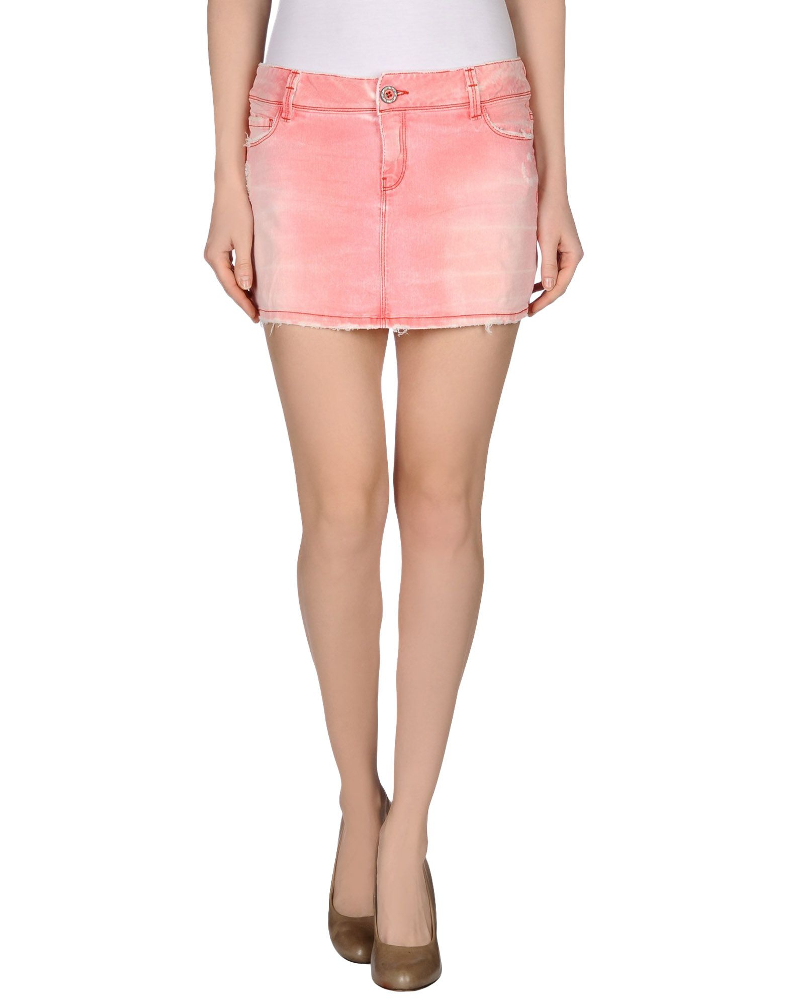 jfour denim skirt in pink coral save 80 lyst