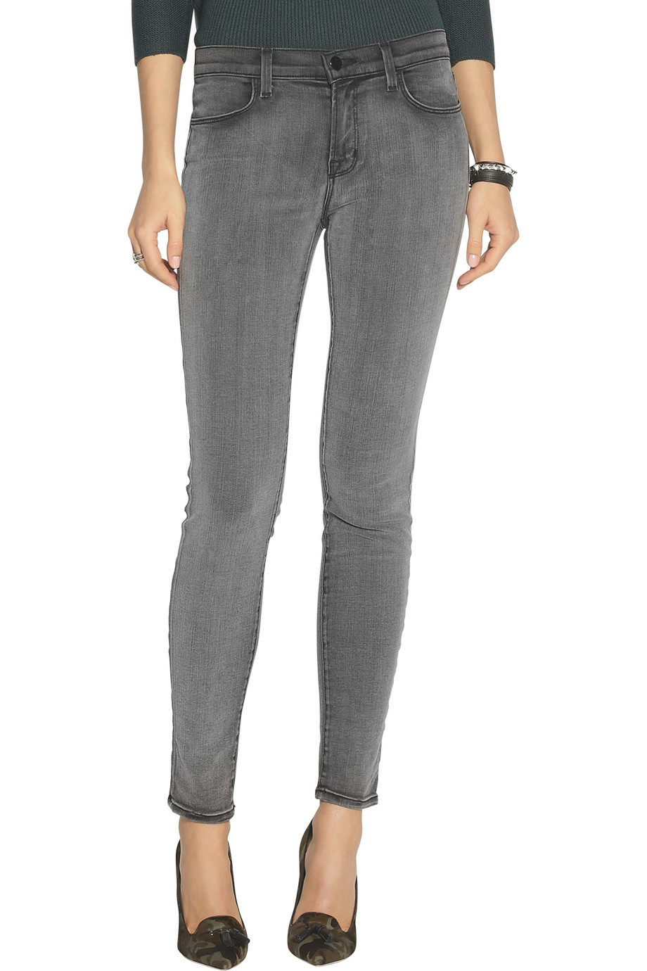 j brand 620 photo ready mid rise skinny jeans in gray lyst. Black Bedroom Furniture Sets. Home Design Ideas